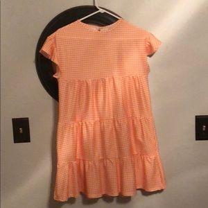 Orange and white gingham check mini dress